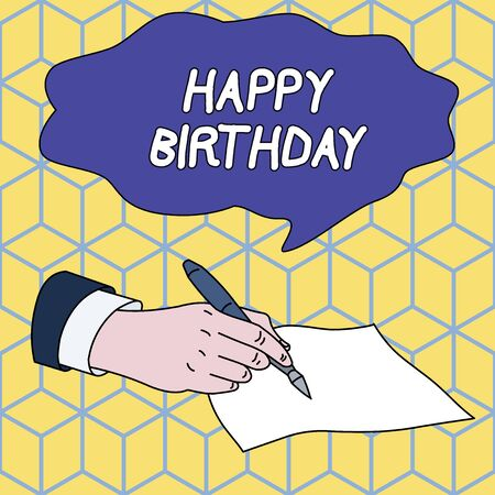 Text sign showing Happy Birthday. Business photo showcasing The birth anniversary of a demonstrating is celebrated with presents Male Hand Formal Suit Holding Ballpoint Pen Blank Piece of Paper Writing