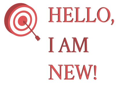 Word writing text Hello I Am New. Business photo showcasing used as greeting or to begin telephone conversation Dart Board in Circle Concentric Style with Arrow Hitting Center Bulls Eye Stock Photo