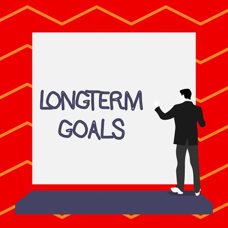 Word writing text Longterm Goals. Business photo showcasing Strategic target that is required more time for completion Short hair immature young man stand in front of rectangle big blank board