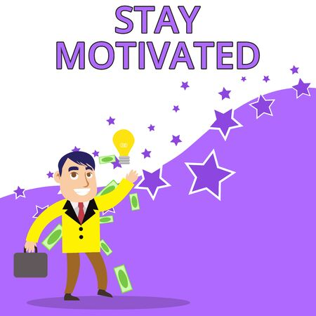 Text sign showing Stay Motivated. Business photo text Reward yourself every time you reach a goal with knowledge Successful Businessman or Clerk Generating Good Idea or Finding Solution Фото со стока