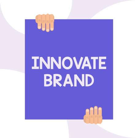 Handwriting text writing Innovate Brand. Conceptual photo significant to innovate products, services and more Two hands holding big blank rectangle up down Geometrical background design 版權商用圖片