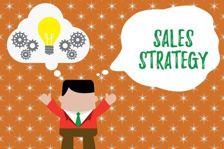 Écrit remarque montrant la stratégie de vente. Concept d'entreprise pour planifier pour atteindre et vendre à votre marché cible L'homme marketing remet une ampoule à bulle imaginaire travaillant ensemble
