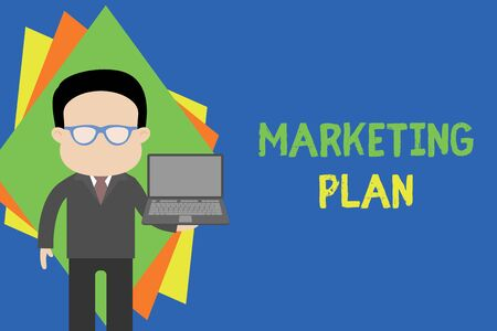 Text sign showing Marketing Plan. Business photo text Comprehensive document of business activities and advertising Standing man in suit wearing eyeglasses holding open laptop photo Art