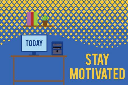 Text sign showing Stay Motivated. Business photo text Reward yourself every time you reach a goal with knowledge Desktop computer wooden table background shelf books flower pot ornaments Banque d'images - 128087376