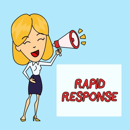 Writing note showing Rapid Response. Business concept for Medical emergency team Quick assistance during disaster Young Woman Speaking in Blowhorn Colored Backgdrop Text Box