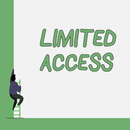 Writing note showing Limited Access. Business concept for Having access restricted to a quite small number of points One Male climb up the tall high wall use short ladder stairway
