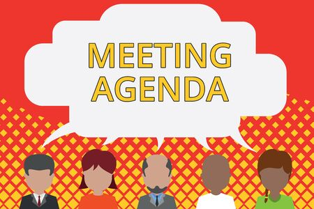 Word writing text Meeting Agenda. Business photo showcasing An agenda sets clear expectations for what needs to a meeting Five different races persons sharing blank speech bubble. People talking
