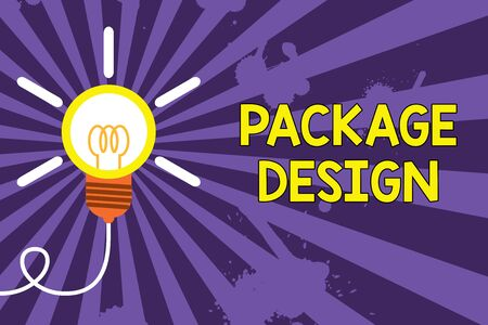 Word writing text Package Design. Business photo showcasing Strategy in creating unique product wrapping or container Big idea light bulb. Successful turning idea invention innovation. Startup