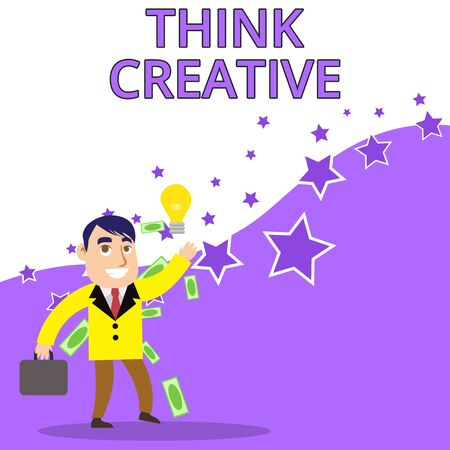 Text sign showing Think Creative. Business photo text The ability to perceive patterns that are not obvious Successful Businessman or Clerk Generating Good Idea or Finding Solution