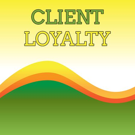 Text sign showing Client Loyalty. Business photo showcasing The result of consistently positive satisfaction to clients Wavy Abstract Design Three Tone Background with Two Curvy Lines in Center