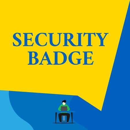 Writing note showing Security Badge. Business concept for Credential used to gain accessed on the controlled area Young man sitting chair desk working open laptop geometric background Stock Photo