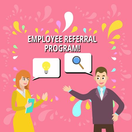 Writing note showing Employee Referral Program. Business concept for internal recruitment method employed by organizations Business Partners Colleague Jointly Seeking Problem Solution