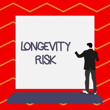 Word writing text Longevity Risk. Business photo showcasing Potential threat due to increasing lifespan of pensioners Short hair immature young man stand in front of rectangle big blank board