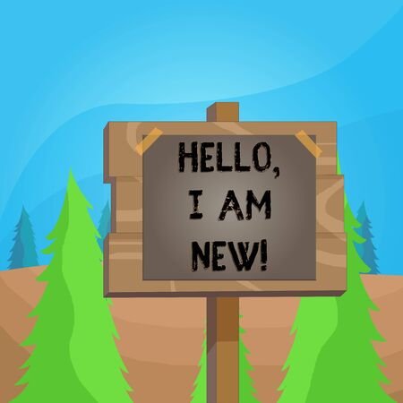 Word writing text Hello I Am New. Business photo showcasing used as greeting or to begin telephone conversation Wood plank wooden stick pole paper note attached adhesive tape empty space