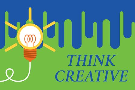 Handwriting text Think Creative. Conceptual photo The ability to perceive patterns that are not obvious Big idea light bulb. Successful turning idea invention innovation. Startup 写真素材