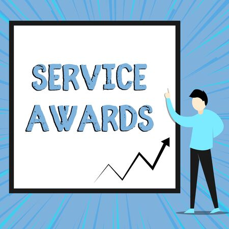 Word writing text Service Awards. Business photo showcasing Recognizing an employee for his or her longevity or tenure View young man standing pointing up blank rectangle Geometric background Stock Photo