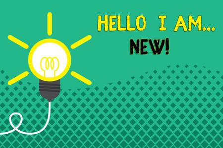 Conceptual hand writing showing Hello I Am New. Concept meaning used as greeting or to begin telephone conversation Idea light bulb Successful turning idea invention Startup Stock Photo