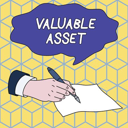 Text sign showing Valuable Asset. Business photo showcasing Your most valuable asset is your ability or capacity Male Hand Formal Suit Holding Ballpoint Pen Blank Piece of Paper Writing