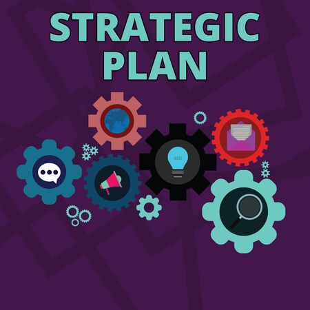 Word writing text Strategic Plan. Business photo showcasing A process of defining strategy and making decisions Set of Global Online Social Networking Icons Inside Colorful Cog Wheel Gear