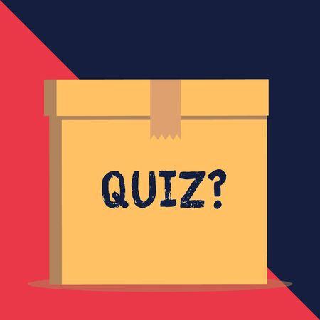 Escribir nota que muestra la pregunta del cuestionario. Concepto de negocio para la prueba de conocimientos como competencia entre individuos o equipos Cierre de la tapa de la caja sellada de cartón marrón vista frontal. Fondo en blanco