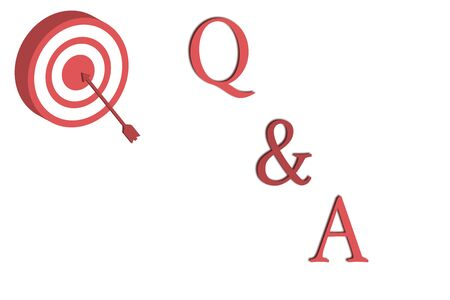 Word writing text Q And A. Business photo showcasing defined as questions being asked and answers Dart Board in Circle Concentric Style with Arrow Hitting Center Bulls Eye