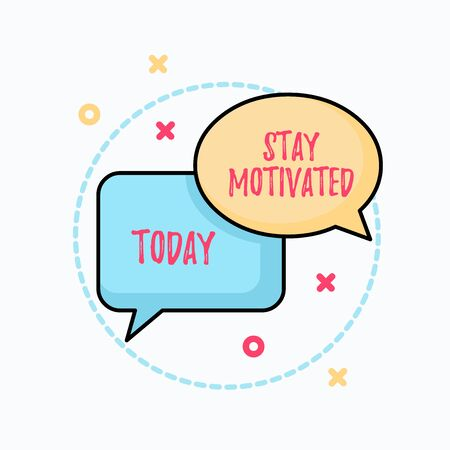 Conceptual handwriting showing Stay Motivated. Concept meaning Reward yourself every time you reach a goal with knowledge Pair of Overlapping Bubbles of Oval and Rectangular Shape Banque d'images - 128090290
