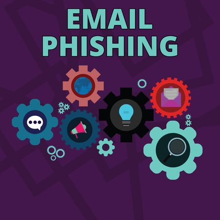 Word writing text Email Phishing. Business photo showcasing Emails that may link to websites that distribute malware Set of Global Online Social Networking Icons Inside Colorful Cog Wheel Gear