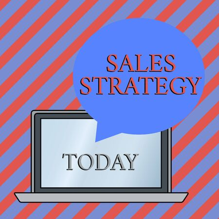 Conceptual hand writing showing Sales Strategy. Concept meaning Plan for reaching and selling to your target market Marketing Round Shape Speech Bubble Floating Over Laptop Backdrop