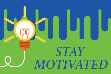 Handwriting text Stay Motivated. Conceptual photo Reward yourself every time you reach a goal with knowledge Big idea light bulb. Successful turning idea invention innovation. Startup