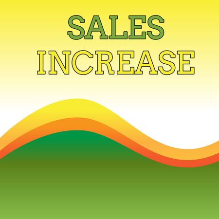 Text sign showing Sales Increase. Business photo showcasing Grow your business by finding ways to increase sales Wavy Abstract Design Three Tone Background with Two Curvy Lines in Center 免版税图像