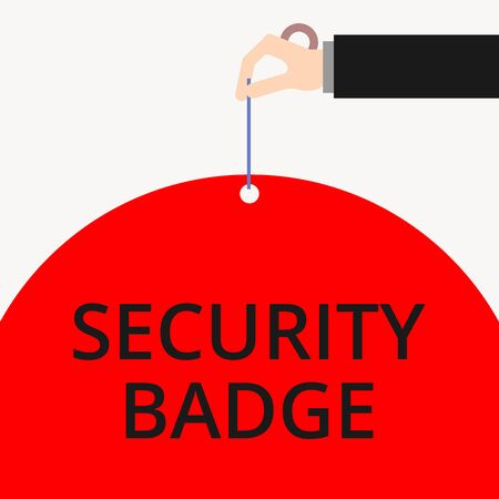 Word writing text Security Badge. Business photo showcasing Credential used to gain accessed on the controlled area Male hand arm needle punching big half blank balloon geometrical background