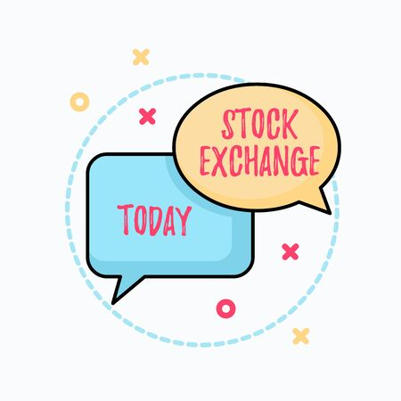 Conceptual hand writing showing Stock Exchange. Concept meaning An electronic market where owners of businesses get together Pair of Overlapping Bubbles of Oval and Rectangular Shape