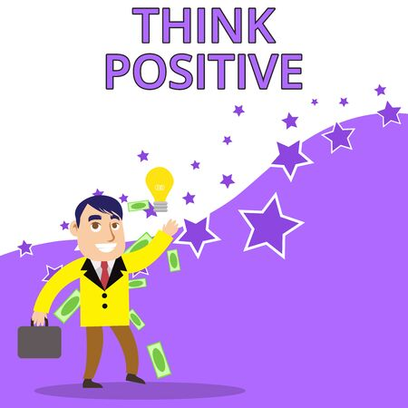 Text sign showing Think Positive. Business photo text The tendency to be positive or optimistic in attitude Successful Businessman or Clerk Generating Good Idea or Finding Solution