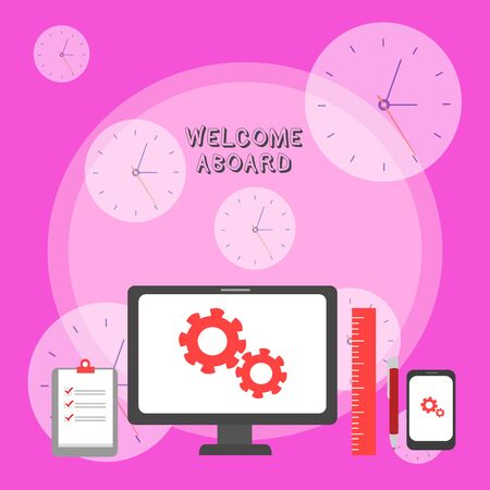 Writing note showing Welcome Aboard. Business concept for Expression of greetings to a demonstrating whose arrived is desired Business Concept PC Monitor Mobile Device Clipboard Ruler Ballpoint Pen