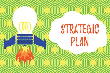 Handwriting text writing Strategic Plan. Conceptual photo A process of defining strategy and making decisions Top view launching bulb rocket fire base. Starting new project. Fuel idea