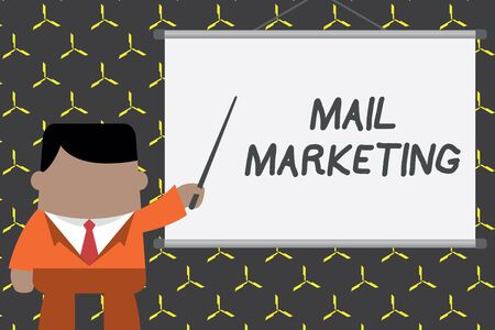 Text sign showing Mail Marketing. Business photo showcasing Act of sending a commercial messages Broadcast sense Businessman standing in front projector screen pointing project idea