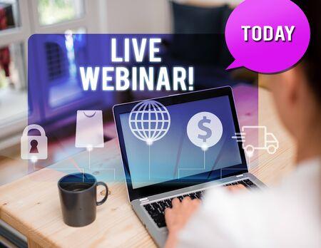Handwriting text writing Live Webinar. Conceptual photo presentation lecture or seminar transmitted over Web Banco de Imagens
