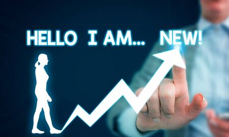 Text sign showing Hello I Am New. Business photo showcasing used as greeting or to begin telephone conversation Female human wear formal work suit presenting presentation use smart device
