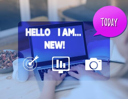 Writing note showing Hello I Am New. Business concept for used as greeting or to begin telephone conversation