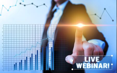 Word writing text Live Webinar. Business photo showcasing presentation lecture or seminar transmitted over Web Banco de Imagens
