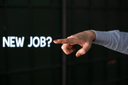 Text sign showing New Job  . Business photo showcasing formal meeting which someone asked find out if they are suitable Finger pointing in the Dark with hand pointing in the copy space 写真素材 - 128150975