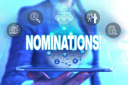 Conceptual hand writing showing Nominations. Concept meaning action of nominating or state being nominated for prize Female human wear formal work suit presenting smart device