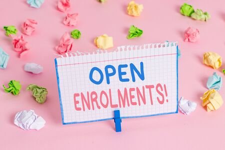 Text sign showing Open Enrolments. Business photo showcasing when employees may make changes to elected fringe benefit Stock fotó