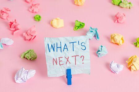 Escribir nota mostrando cuál es la siguiente pregunta. Concepto de negocio para preguntar demostrando acerca de sus próximas acciones o comportamientos