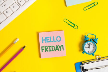 Text sign showing Hello Friday. Business photo showcasing used to express happiness from beginning of fresh week Flat lay above copy space on the white crumpled paper