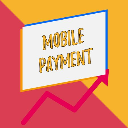 Conceptual hand writing showing Mobile Payment. Concept meaning Cashless Payment made through portable electronic devices Blank rectangle above another arrow zigzag upwards sale Stock fotó