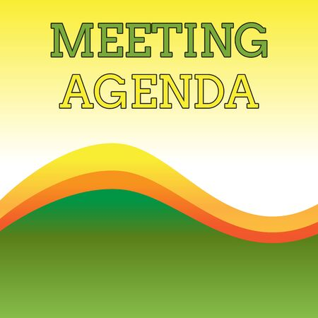 Text sign showing Meeting Agenda. Business photo showcasing An agenda sets clear expectations for what needs to a meeting Wavy Abstract Design Three Tone Background with Two Curvy Lines in Center Imagens