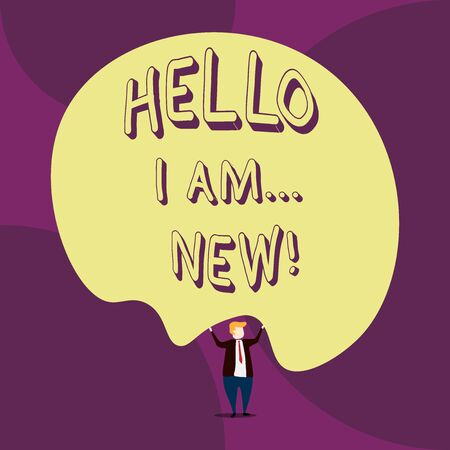 Writing note showing Hello I Am New. Business concept for used as greeting or to begin telephone conversation Front view Man dressed suit tie two hands up big balloon Stock Photo