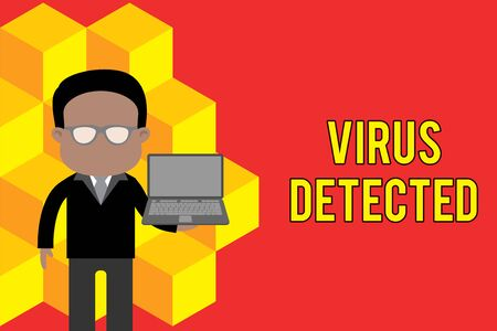 Word writing text Virus Detected. Business photo showcasing A computer program used to prevent and remove malware Standing man in suit wearing eyeglasses holding open laptop photo Art