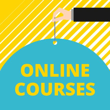 Text sign showing Online Courses. Business photo showcasing Revolutionizing formal education Learning through internet Man hand hold big half round paper tie string with thumb and index finger